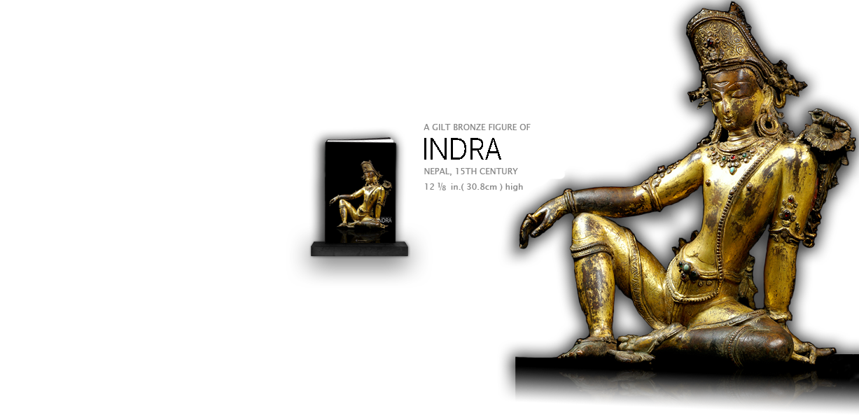 A GILT BRONZE FIGURE OF INDRA.